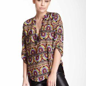 Meghan LA Multi color abstract blouse